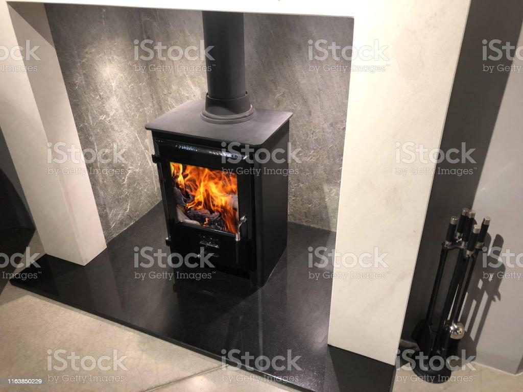 Image Of Square Cast Iron Woodburner Contemporary Log Wood Burning
