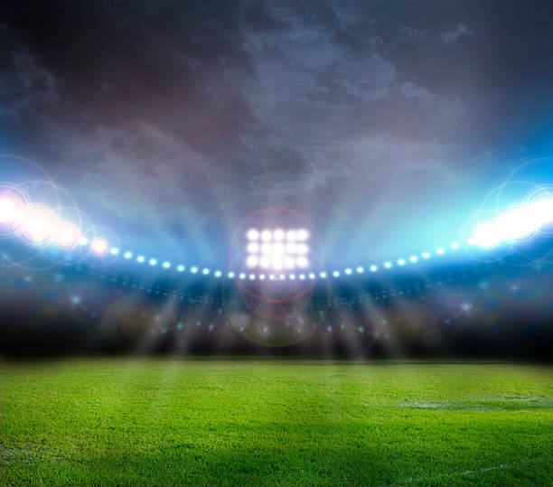 Image of stadium with lights and flashes​​​ foto