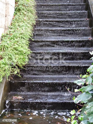 istock Image of staircase waterfall, cascade of water flowing down steps 476205456