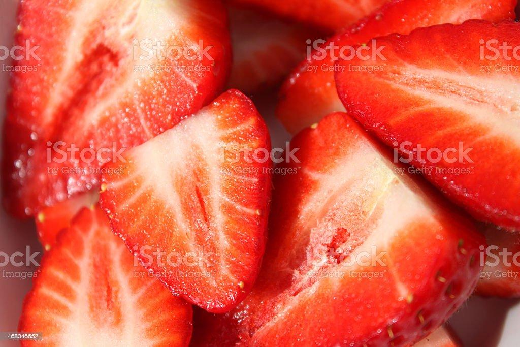Image of strawberries sliced in half, healthy eating, fresh-fruit halves royalty-free stock photo