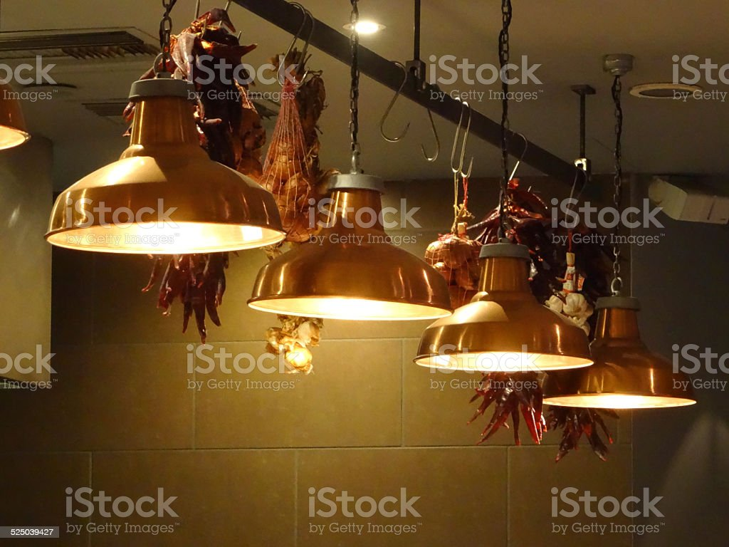Image Of Stylish Hanging Copper Kitchen Lamps Lights In Row