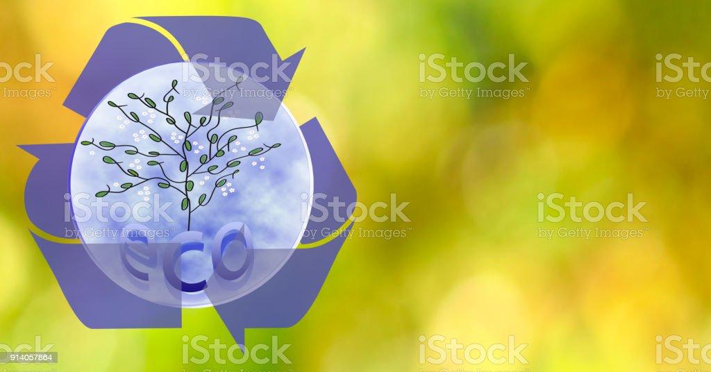 Image of stylized tree on blurred background stock photo
