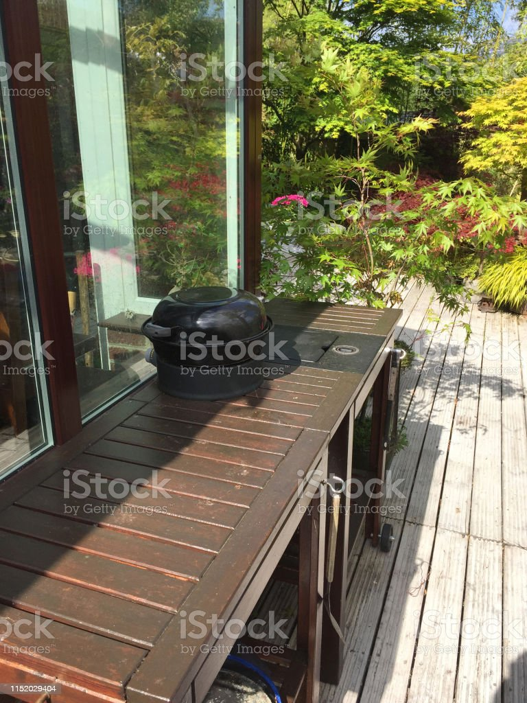 Image Of Summer Back Yard With Outdoor Kitchen And Garden Barbecue