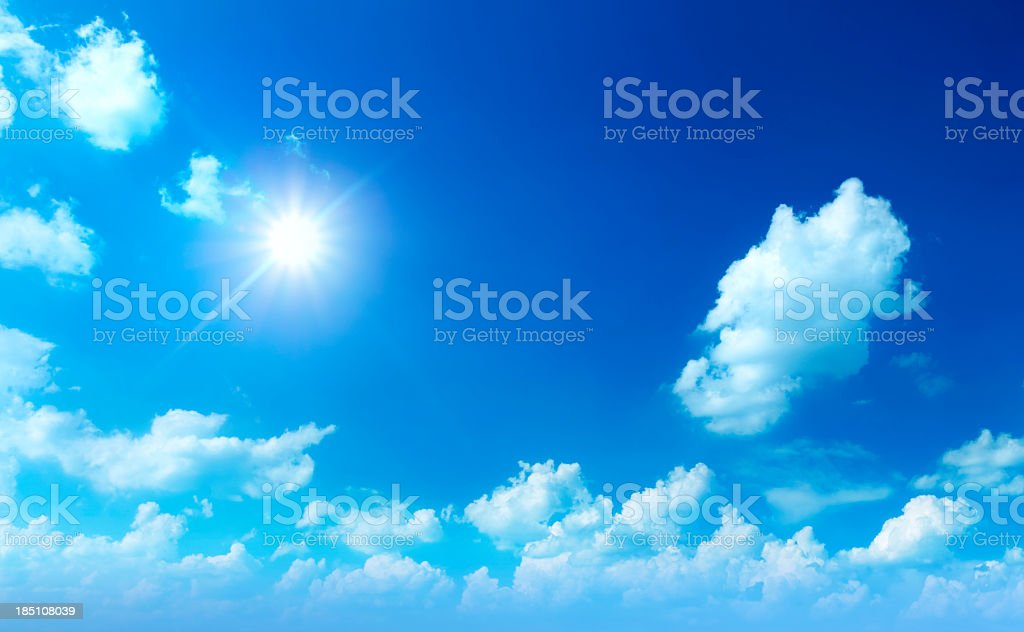 XXL Image of Sun Shining Between Clouds - Cloudscape Panorama royalty-free stock photo