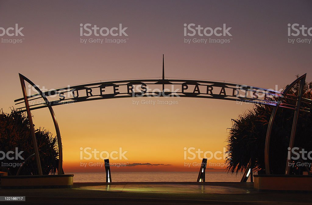 Image of Surfers Paradise, Queensland, Australia at sunrise stock photo
