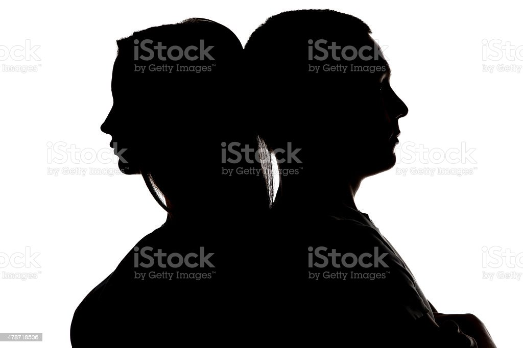Image of teenagers looking in different sides stock photo
