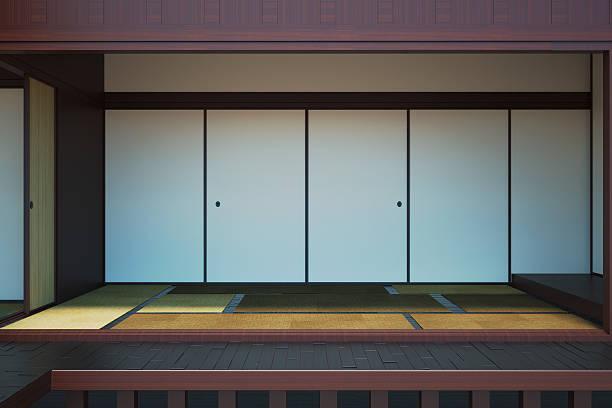 画像の空インテリアルームには、日本のスタイル - 畳 ストックフォトと画像