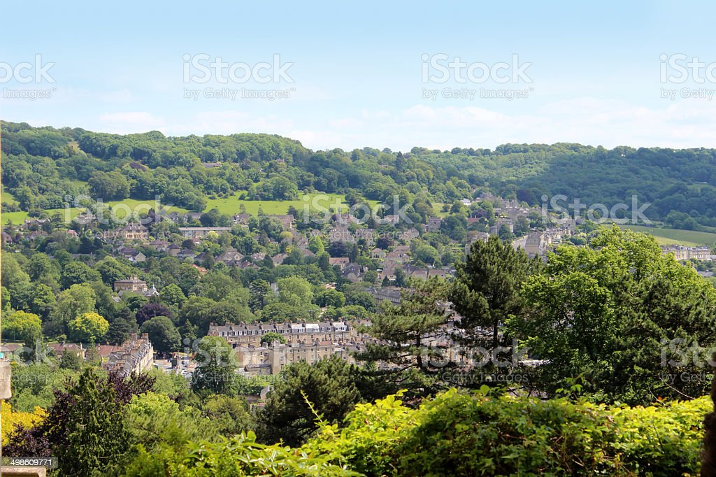 Image of the outskirts of Bath city, with countryside scenery stock photo