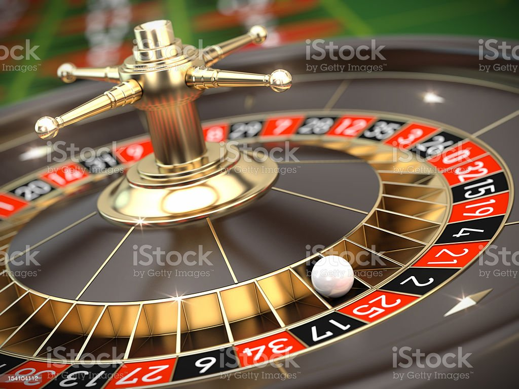 Image of the roulette table in the casino stock photo
