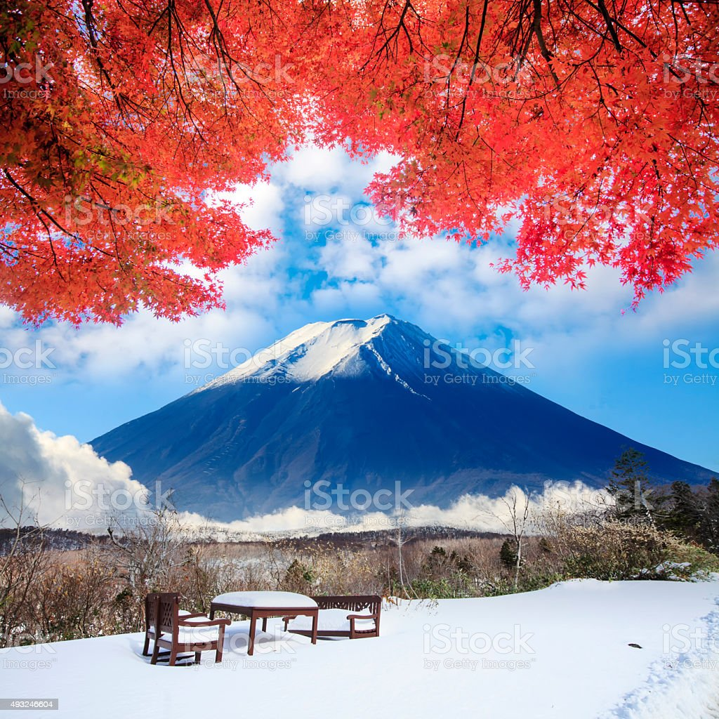 Image of the sacred mountain of Fuji in the background stock photo