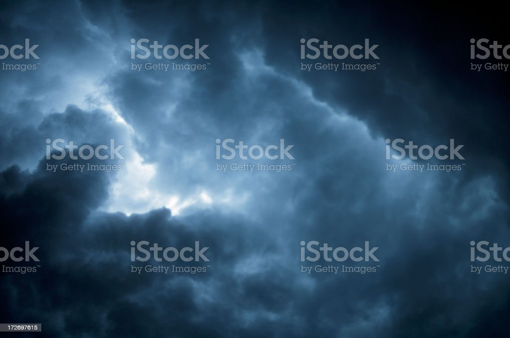 Image of the sky with dark blue and black storm clouds royalty-free stock photo