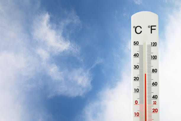 image of thermometer against blue sky. stock photo