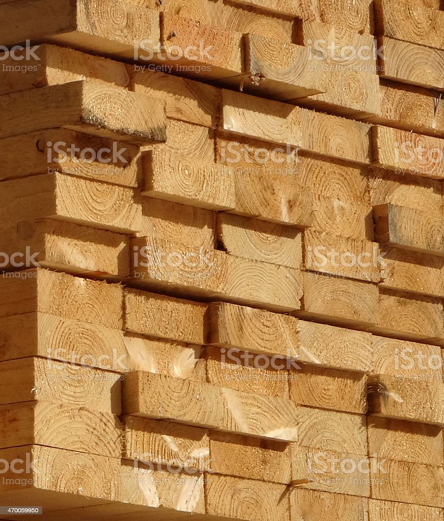 Image of thick softwood / wood timber planks at lumber-yard sawmill stock photo