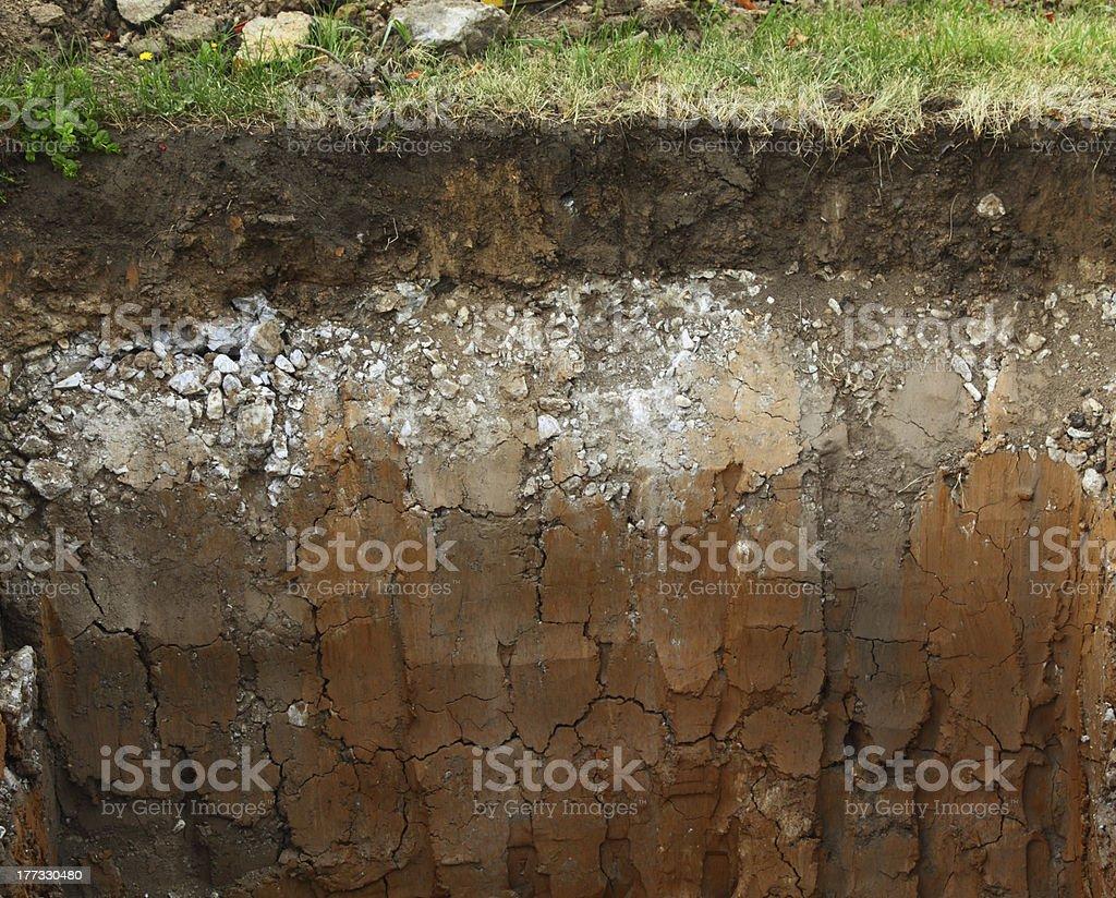 Image of underground soil layers stock photo