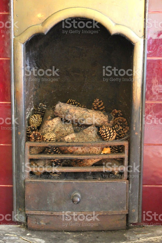 Image Of Victorian Iron Fireplace With Red Tiles Brass Logs Stock