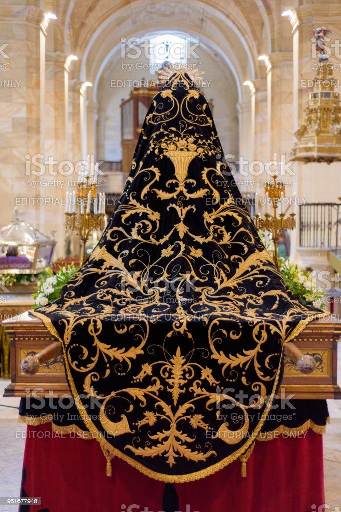 image of virgin Mary, interior of the Church of Saint Mary. Holy Week (Semana Santa) in Briviesca, Burgos province , Spain. stock photo