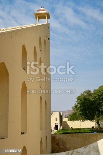 Stock photo of the Jantar Mantar's Vrihat Samrat Yantra (great king of instruments) the world's largest gnomon sundial. This structure measures time in 2 second increments