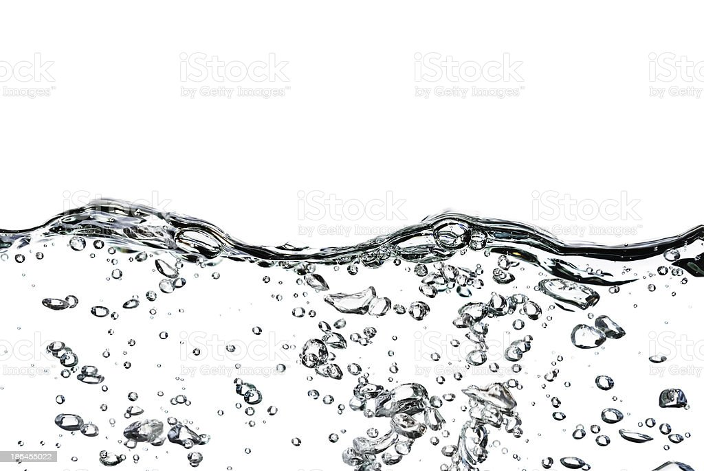 Image of water with bubbles against white background stock photo