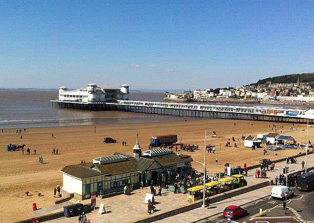 Image of Weston-Super-Mare Pier as seen from the Weston Eye stock photo