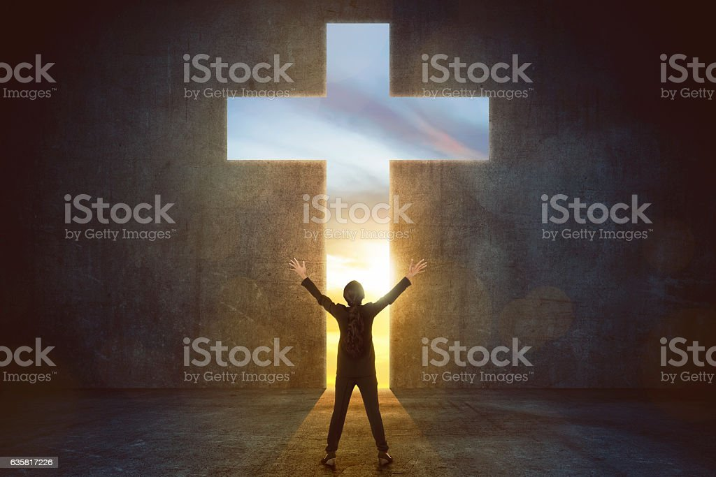 Image of woman praise to god stock photo