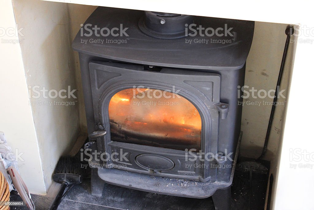 Image Of Woodburning Stove Fireplace Fire Closeddoor Glass Heatproof