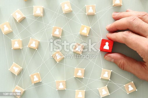 istock image of wooden blocks with people icon over mint table,building a strong team, human resources and management concept - Image. 1081923766