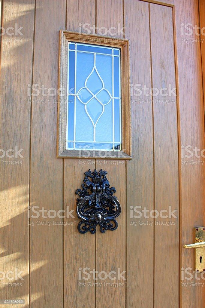 Image Of Wooden Front Door Back Door Stainedglass Window Doorknocker