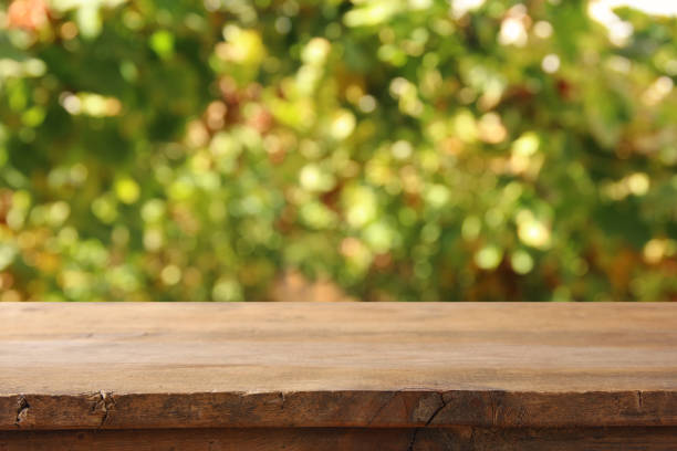 Image of wooden table in front of blurred vineyard landscape at sun light. Ready for product display montage. – zdjęcie