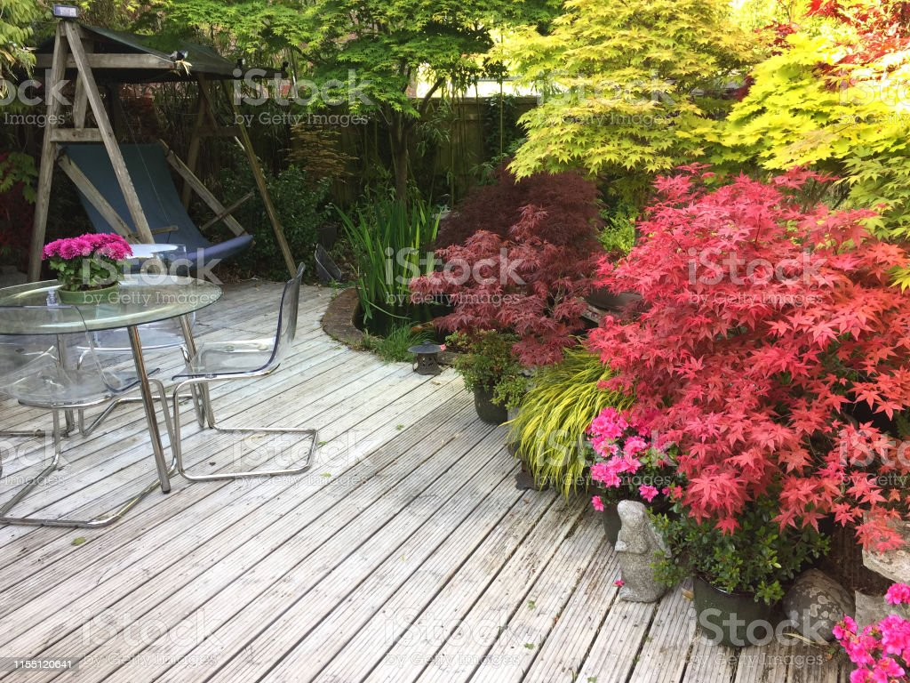 Stock photo of wooden white garden decking timber with garden...