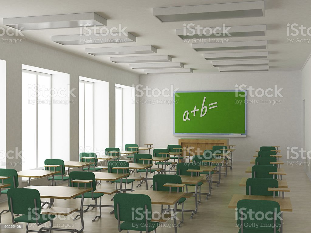3D image showing the interior of a school classroom royalty-free stock photo