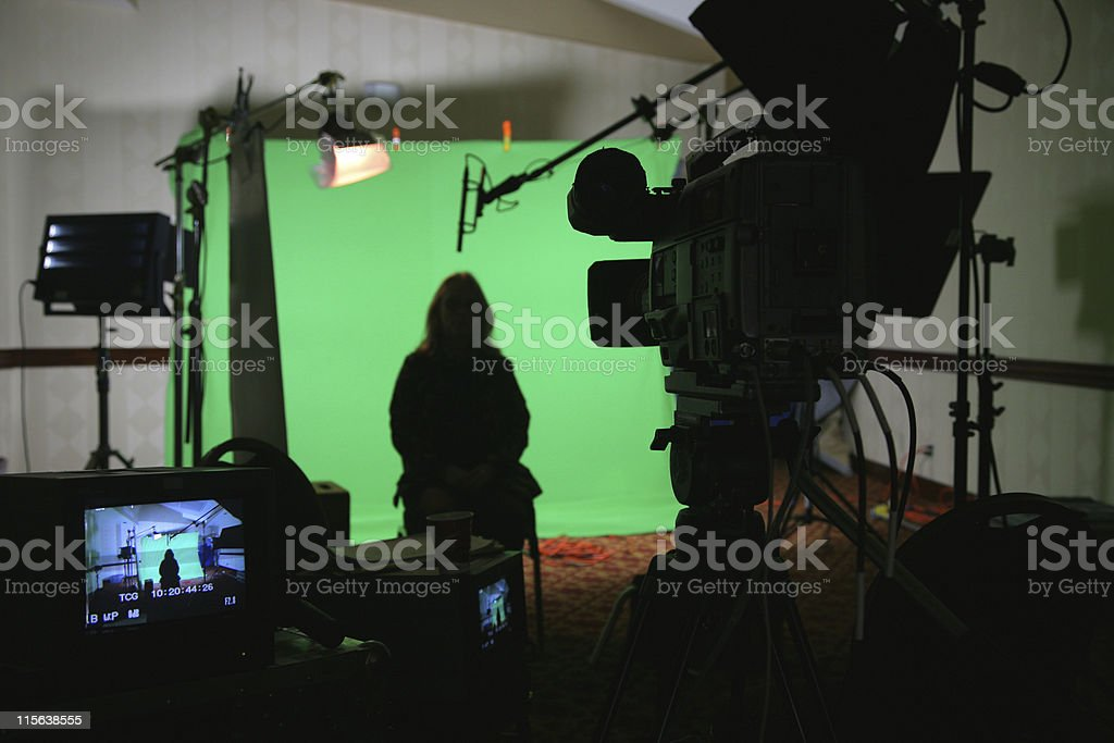 image TV video interview chroma key set 2 stock photo