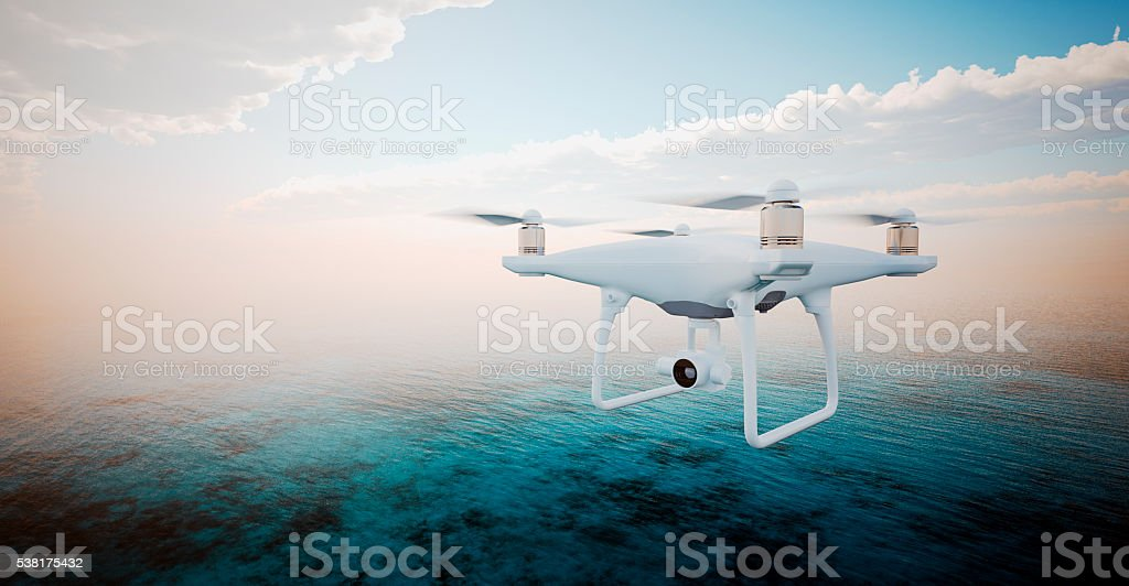 Image White Matte Generic Design Modern Remote Control Drone action stock photo