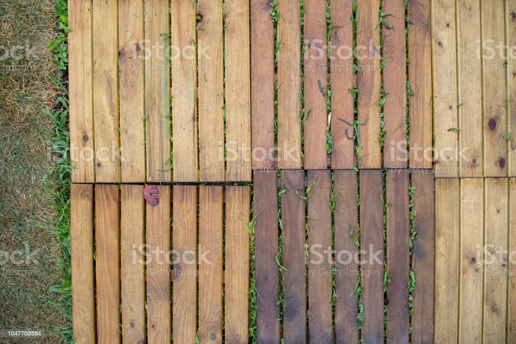 Image With A High Shot Of Wooden Tiles For Paving From External