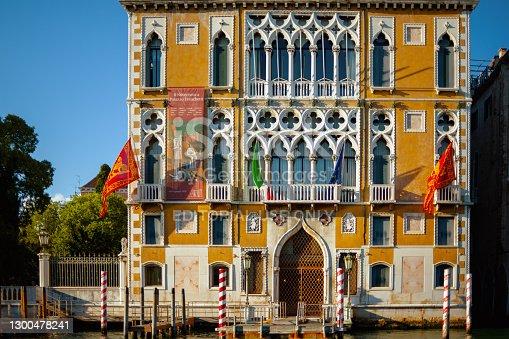 Venice - July, 25, 2020: image with Palazzo Franchetti in Venice, Italy.