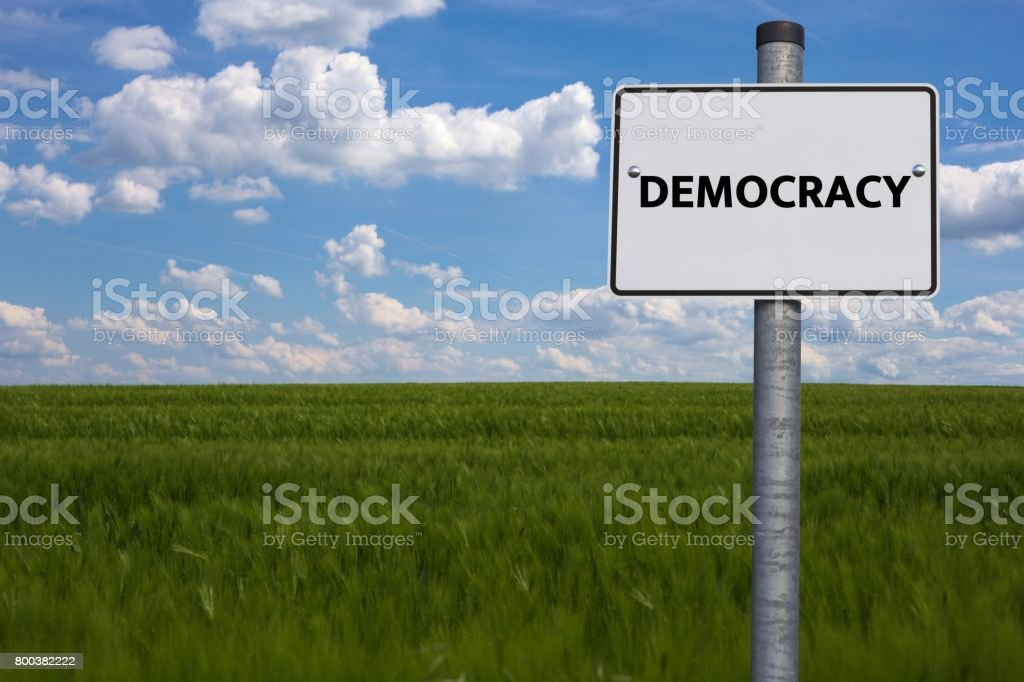 DEMOCRACY - image with words associated with the topic IMPEACHMENT, word cloud, cube, letter, image, illustration stock photo