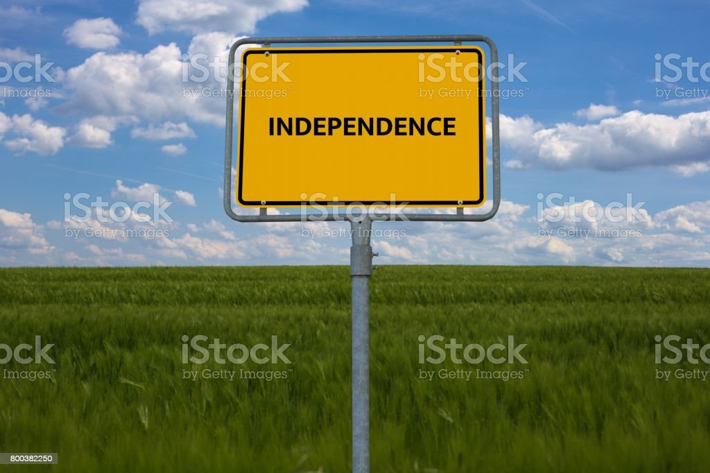 INDEPENDENCE - image with words associated with the topic IMPEACHMENT, word cloud, cube, letter, image, illustration stock photo