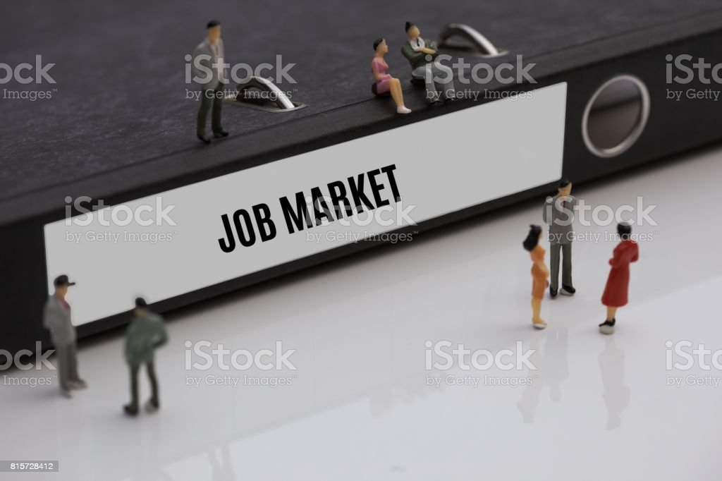 JOB MARKET - image with words associated with the topic RECRUITING, word, image, illustration stock photo