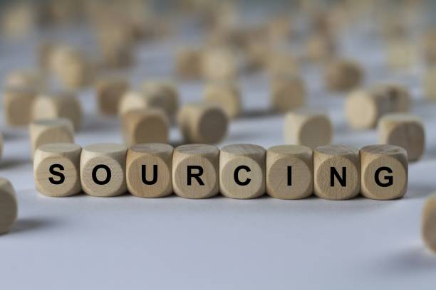 SOURCING - image with words associated with the topic RECRUITING, word, image, illustration stock photo