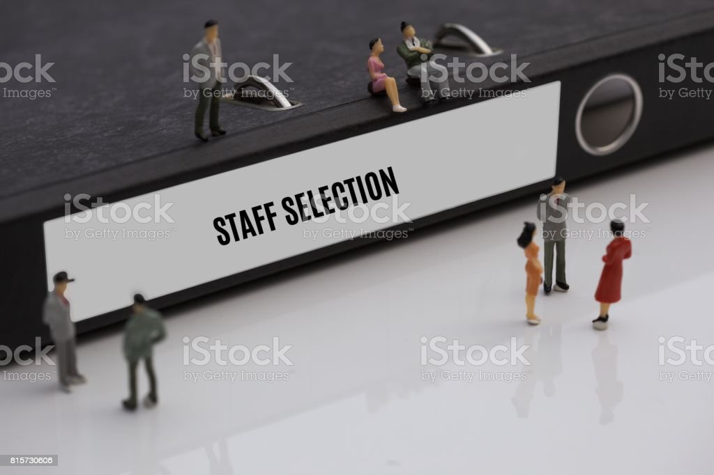 STAFF SELECTION - image with words associated with the topic RECRUITING, word, image, illustration stock photo
