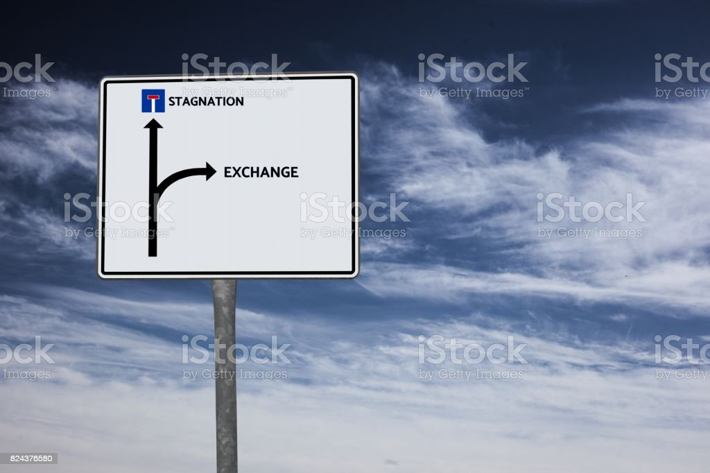 EXCHANGE - STAGNATION - image with words associated with the topic SOCIAL MEDIA, word, image, illustration stock photo