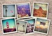 Images from western USA - collage on wood background made like instant photos from old camera
