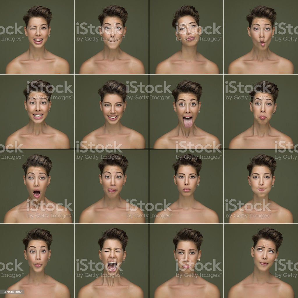 Images of a woman with varied facial expressions royalty-free stock photo
