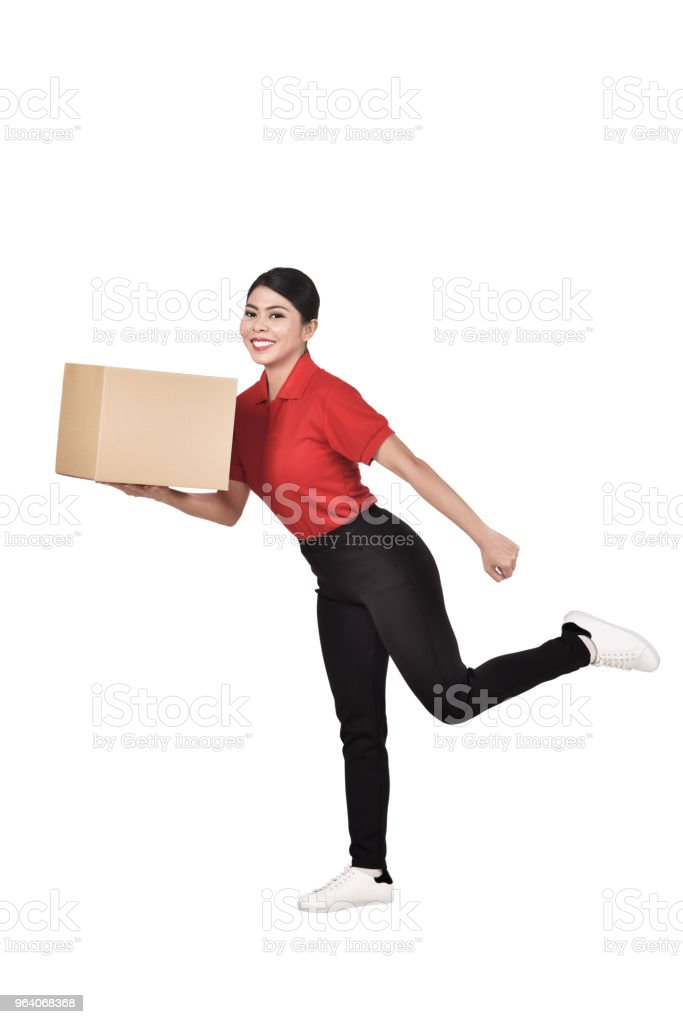 Images of asian courier woman delivering the parcel - Royalty-free Adult Stock Photo