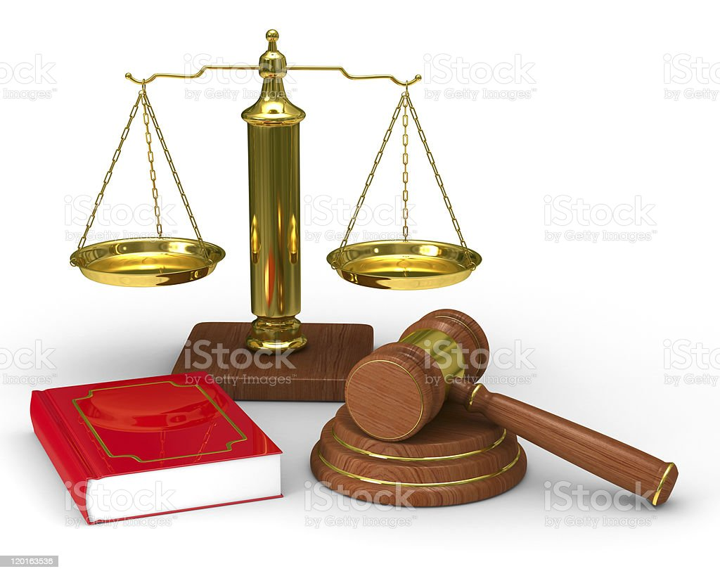 Images of legal items scales of justice, hammer, and book royalty-free stock photo
