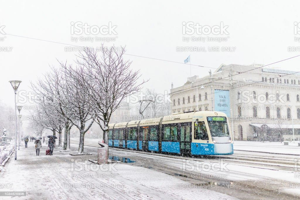 Images of snowing in Gothenburg city centre stock photo