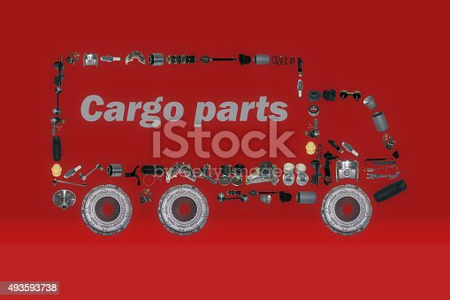 istock Images truck assembled from new spare parts 493593738