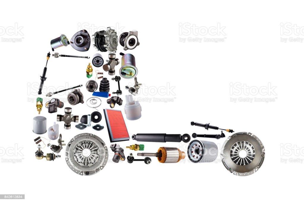 Bilder truck zusammengestellt von neuen Ersatzteile – Foto