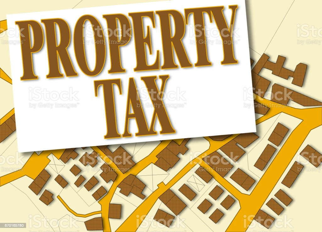 Imaginary cadastral map of territory with buildings and roads and 'Property Tax' written on it - concept image stock photo