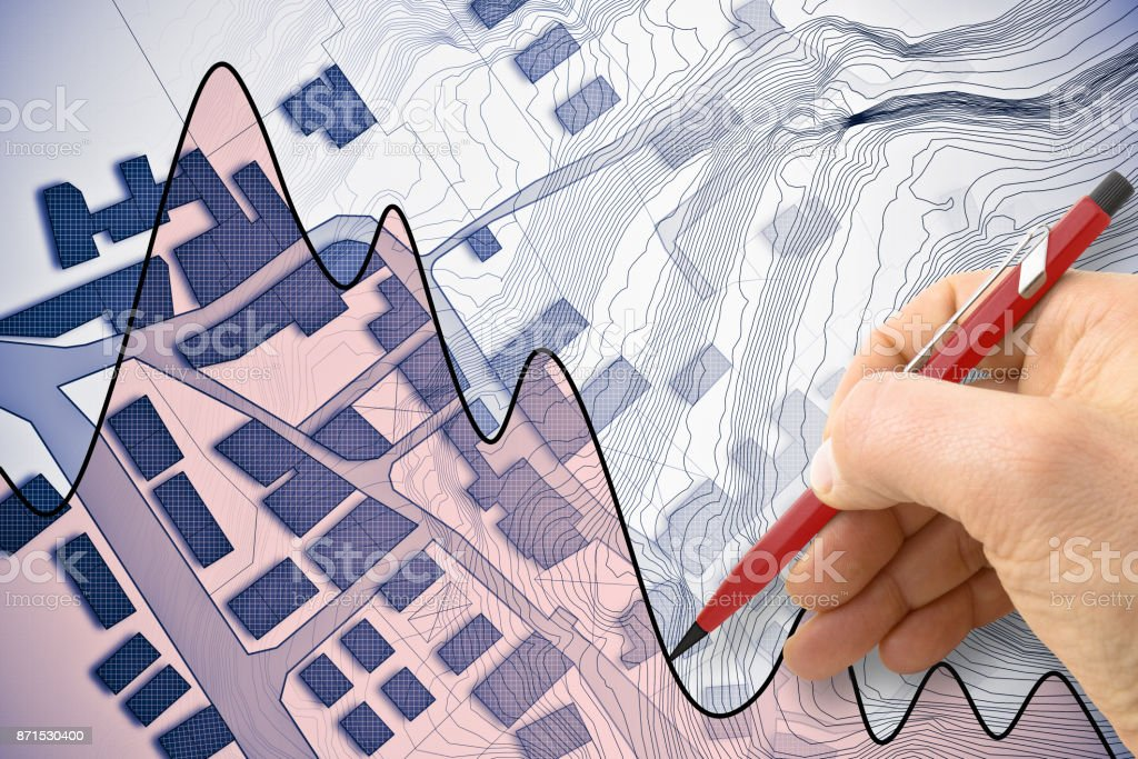 Imaginary cadastral map of territory with buildings, roads and hand drawing a chart fluctuation about the housing market stock photo