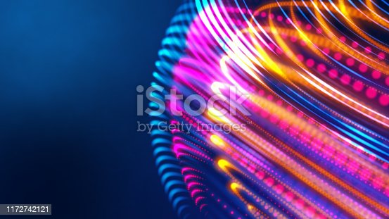 3D imagination multicolor neon light globe in space with copy space background, abstract digital 5G high speed internet technology, startup business financial investment ideas.